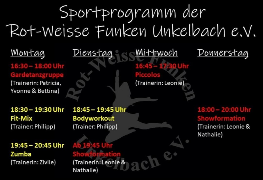 Sportprogramm Rot-Weisse Funken Unkelbach